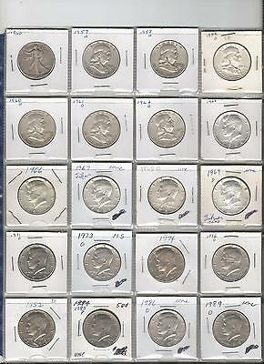 U.s. Half Dollar Collection 1940-1989  20 Fifty Cent Pieces