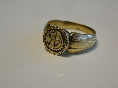 Medieval English Merchant's Seal GOLD Ring 15th C. !!!!!