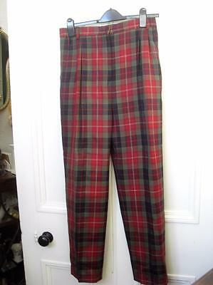 Straven UK 14 Women's RED Plaid Trousers MADE IN SCOTLAND 100% Wool Tartan GOLF