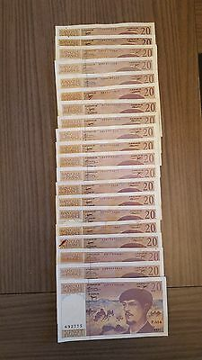 (12) LOT de 20 BILLETS de 20 FRANCS DEBUSSY