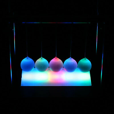 Newtons Cradle LED Light Up Kinetic Energy Science Home Toys Office Home Decor
