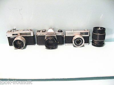 Lot Of (3) Vintage 35 Mm Cameras W/extra Lens And Leather Covers