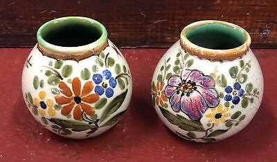 2 GOUDA ART POTTERY ROYAL ZUID VASES HOLLAND H/P 3661 & 3660 Signed 1943 3""