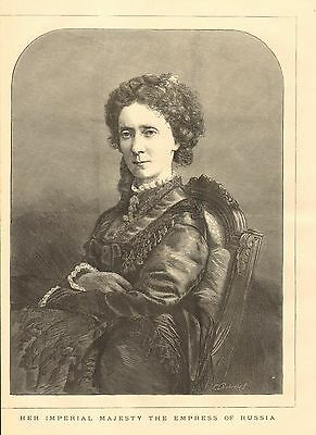Her Imperial Majesty The Empress Of Russia, w/text, Vintage 1874 Antique Print