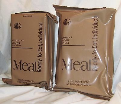 SEALED Vintage Military Ready-To-Eat MREs Right Away Food Meals No.8 & No.10 NOS