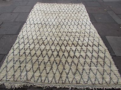 Old Hand Made Tribal Moroccan Beni Qurian Wool Cream Berber Rug Carpet 322x192cm