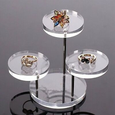 Clear Acrylic Round Table Jewelry Display Showcase Stand Holder