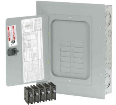 Indoor Main Lug Sub Panel Load Center 12-Space 24-Circuit w/ 5 Type-BR Breakers