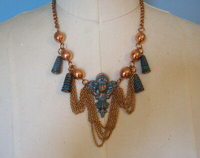 Vintage Style Old Hollywood Bib Swag Dangle Art Nouveau Necklace Earrings Aqua