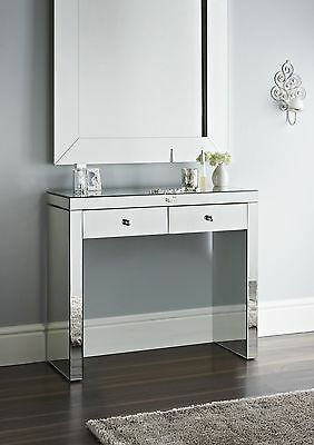 Mirror Hall Table Two storage Drawers new Luxury style fully mirrored console
