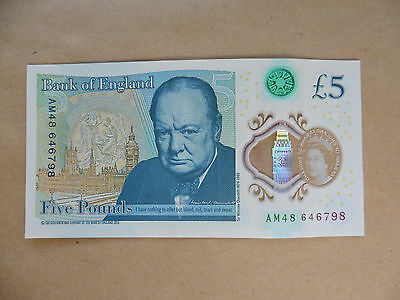 POLYMER £5 BANK NOTE - AM48 646798 - USED -  very slight crease to centre.