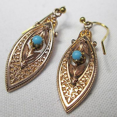 Vintage 9ct Gold Hooks & Rose Gold Plated Ornate Panel & Turquoise Earrings