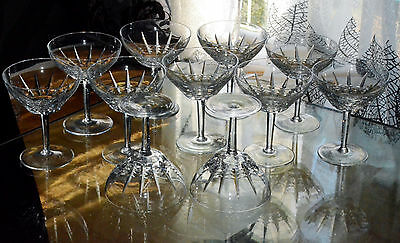 ANCIEN 11 verres COUPES A CHAMPAGNE TAILLE BACCARAT MODELE AUSTERLITZ TURENNE