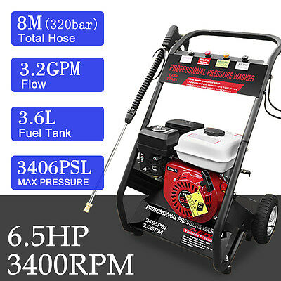 6.5HP Petrol High Power Pressure Jet Washer 2200PSI Engine With Gun Hose Wheel