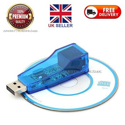 New USB 2.0 To LAN RJ45 Ethernet 10/100Mbps Network Card Adapter blue for PC