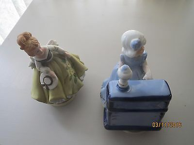 2 revolving ceramic musical ornaments
