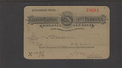 1894 Grand Rapids & Indiana Railroad - Pass