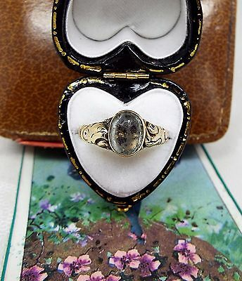 Antique Georgian Ornate 15ct Gold Ring with Foiled Gemstone Stone / Size N 1/2