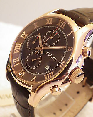 NEW Bulova Men's 97B120 Rose Gold Plated Japan Chronograph Leather Watch RRP£285