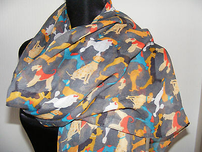 Mixed breeds scarf - Dalmation Poodle Airdale Dachie Hound Ladies dog - grey