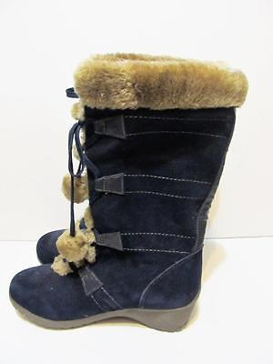 633d4ebb6c SPORTO~MEAGAN~WATERPROOF SUEDE LACE-UP Boots w/ Pom Poms~NAVY BLUE ...