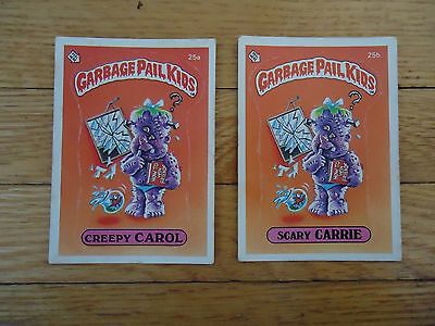 Garbage Pail Kids Creepy Carol Scary Carrie 25a 25b Series 1 1985 Trading Cards