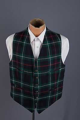 Vtg 1940s 1950s G.A. Dunn Plaid Wool Vest Men's sz M #1627 Piccadilly Circus