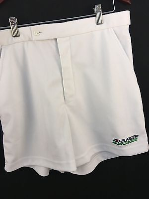 Hilfiger Tennis Shorts L Large White Casual Athletic Polyester Textured