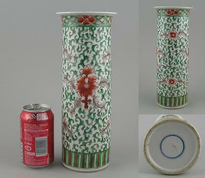 Large Antique Chinese Qing Famille Verte Cylindrical Beaker Vase Double Ring
