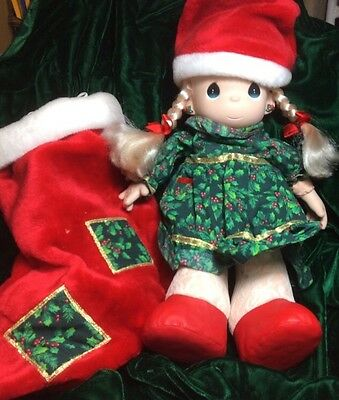 "1998 Christmas Doll In Plush Stocking 15"" PRECIOUS MOMENTS In Original Box"