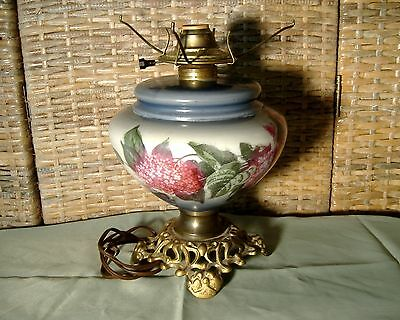 Antique Glass Oil Lamp Base converted Electric Eagle Burner Hand Painted Lilacs