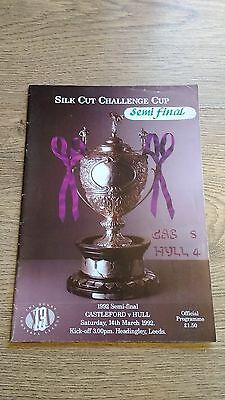 Castleford v Hull 1992 Challenge Cup Semi-Final Rugby League Programme