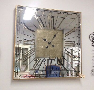80cm ANTIQUE GOLD STUNNING WALL CLOCK SQUARE mirror front cut out numerals