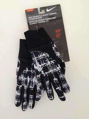 NEW w TAGS Women's ELEMENT THERMAL 2.0 RUN GLOVES /Black/White size XS RN#129862