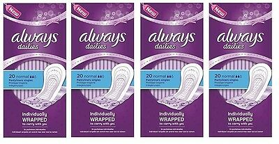 Always Normal Dailies Pantyliners 20 pcs - set of 4 packs