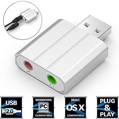 SEGURO Aluminum USB External Stereo Sound Adapter with 3.5mm Stereo Headphone