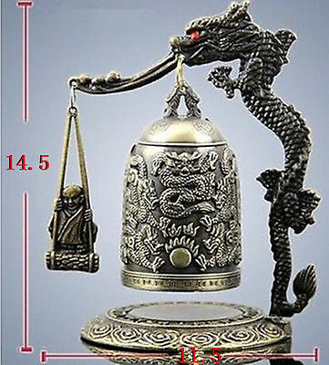 Exquisite handmade Tibet Bronze style Carved Dragon & buddha Bell with box