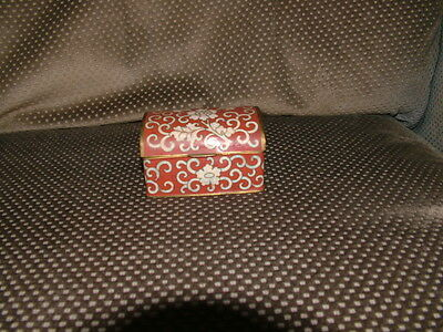 Antique Beautiful Chinese Cloisonne Red Box