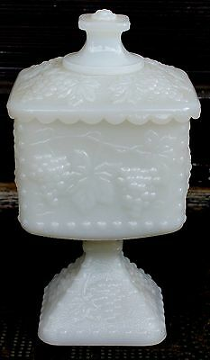 Westmoreland Grape Design Milk Glass Beaded Edge Large Footed Lidded Candy Dish