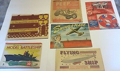 Vintage Paper Cut Out toy lot of 6 nice PLANE SHIP  JEEP BLIMP BATTLESHIP TRAIN