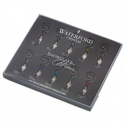 WATERFORD Crystal Snowflake Wishes Christmas Ornament Enhancers - Set Of 10