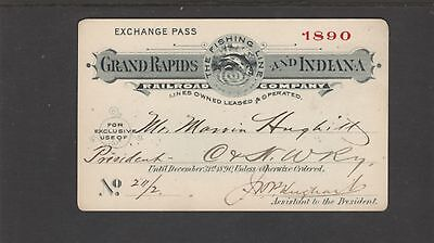 1890  Grand Rapids & Indiana Railroad - Pass