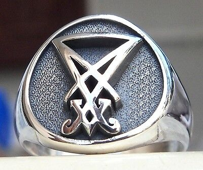 Solid Sterling Silver 925 3D Sigil of Lucifer Seal of Satan Goth Ring All Sizes