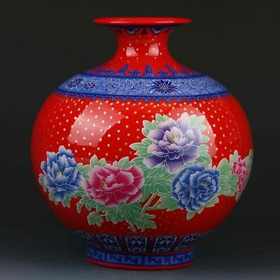 Chinese Color Porcelain Painted Peony Vase W Qianlong Mark