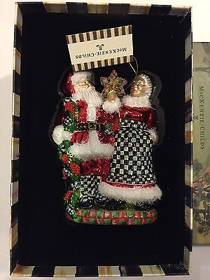 MacKenzie Childs Mr. and Mrs. Santa Claus Christmas Ornament Brand New in Box