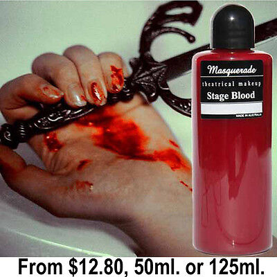 Stage Blood, 50ml. and 125ml Bottle (Halloween & Zombie Walk Proucts)