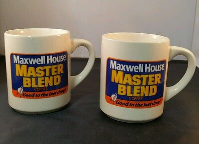 Pair Vintage Maxwell House Master Blend Coffee Mugs Good To The Last Drop 8oz