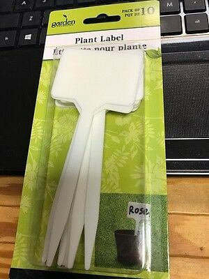 "Plastic Plant T-type Tags Markers 10 pc 5.2 x 2.25"" - Nursery Garden Labels, New"