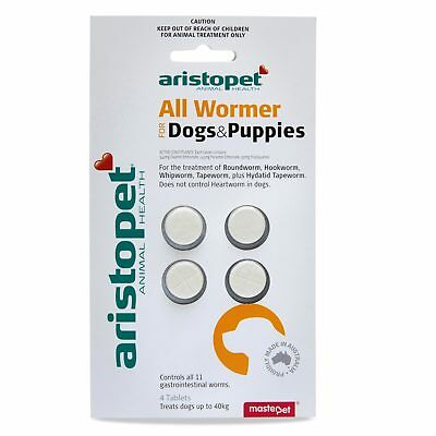 Aristopet All Wormer Dog Puppies 4 Pack For Dogs Upto 40kg Worming
