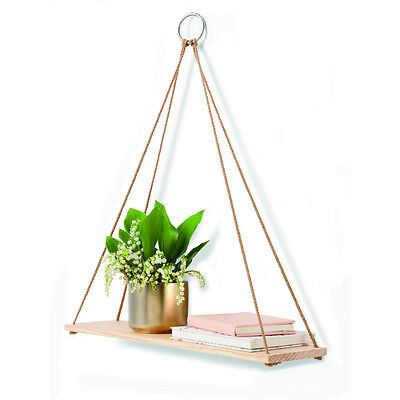 Hanging Wooden Timber Wall Shelf- Contemporary Decor Storage Display Unit